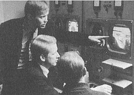 From left: Lars Weck, Ture Sjolander and Bengt Modin 1967 making Monument at the Swedish Television.